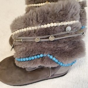 Tylie Malibu Gray Suede Gypsy Wrap Mid Calf boots